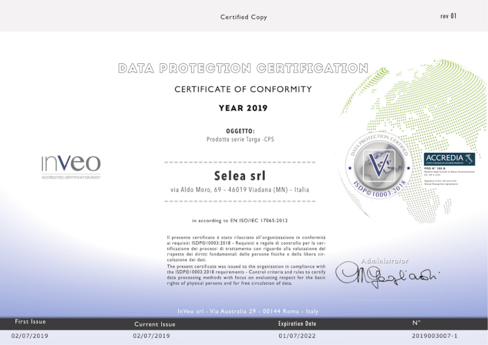 CERTIFICATO SELEA ISDP 10003:2018